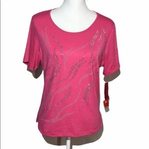 Cathy Daniels Short Sleeve Stretch Top  Size Large
